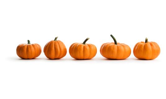 Orange - Fruit「Five Orange Pumpkin Squash in a Row, an Autumn Food」:スマホ壁紙(0)