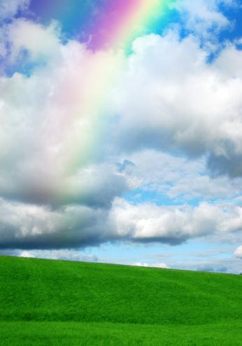 Double Rainbow「Green hill with rainbow」:スマホ壁紙(14)
