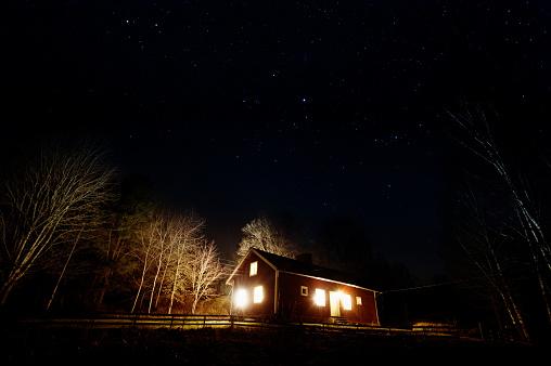 星空「星と家の Nightphoto は、バック グラウンドでライトアップ。」:スマホ壁紙(15)