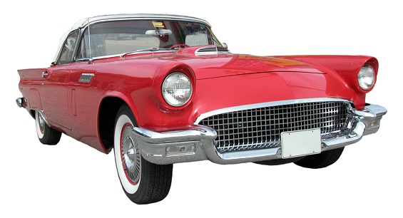 Hot Rod Car「Red Ford TBird in white background」:スマホ壁紙(1)