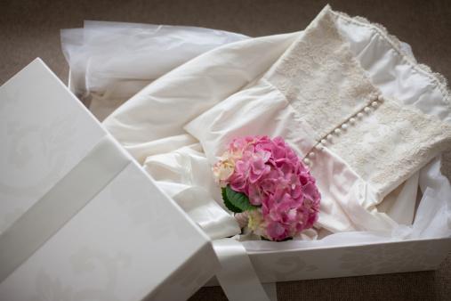 Wedding Dress「Pink hydrangea on wedding dress  in box」:スマホ壁紙(14)