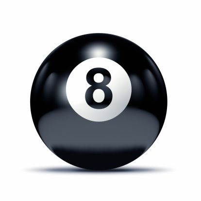 Number 8「Black eght ball closeup on white」:スマホ壁紙(16)
