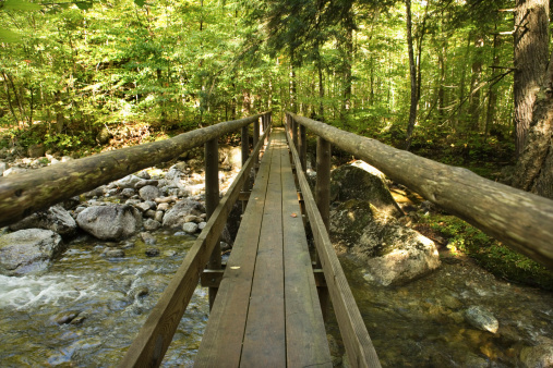 Adirondack Mountains「Wooden bridge crossing river, Adirondacks, New York」:スマホ壁紙(13)