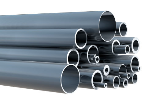 Steel「Stack of various steel pipes on white background」:スマホ壁紙(11)