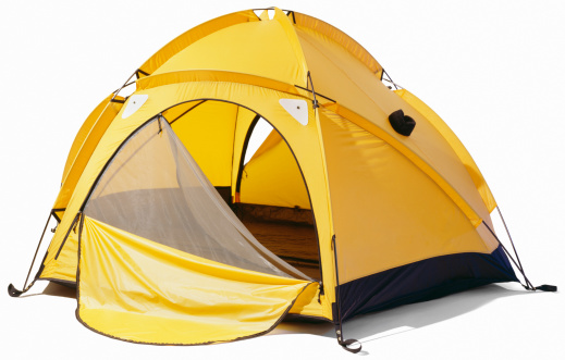 Camping「Yellow dome tent with open zip enclosure」:スマホ壁紙(1)
