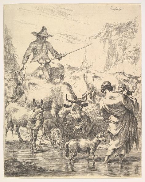 Etching「Le Troupeau Traversant Le Ruisseau Creator: Nicolaes Berchem」:写真・画像(12)[壁紙.com]
