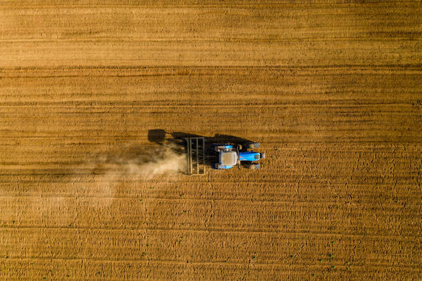 Straight down aerial view of tractor plowing fields on a large scale vegetable farm:スマホ壁紙(壁紙.com)