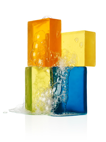Soap「Four bars of sudsy soap on a white background」:スマホ壁紙(11)