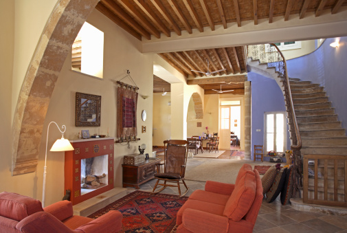 Ceiling Fan「Living area and staircase of Mediterranean town house」:スマホ壁紙(10)
