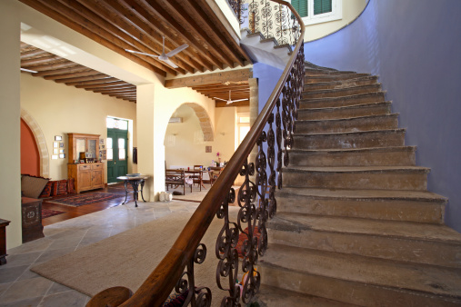 Ceiling Fan「Living area and staircase of Mediterranean town house」:スマホ壁紙(6)