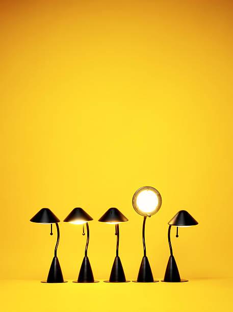 Bright Idea, Five desk lamps against yellow:スマホ壁紙(壁紙.com)