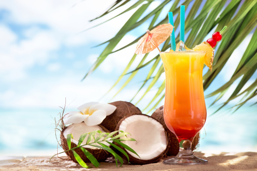 Coconut Water「Tequila sunrise cocktail on the beach」:スマホ壁紙(2)