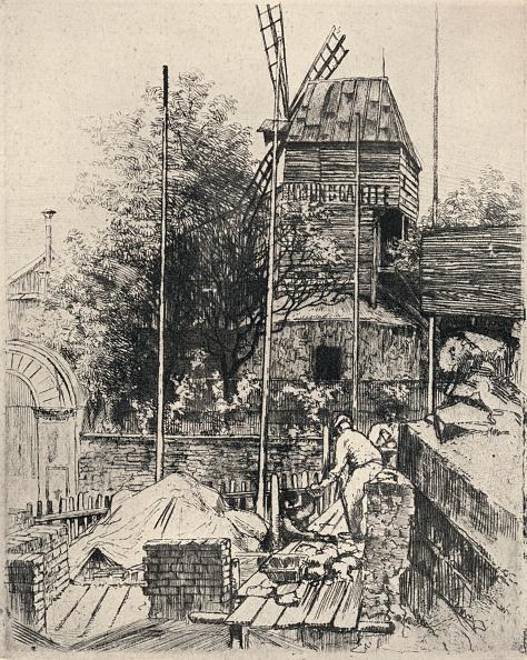 Etching「'Le Moulin de la Galette, Montmartre', 1915」:写真・画像(13)[壁紙.com]