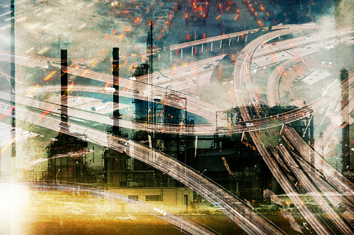 Multiple Exposure「Double exposure of highway and power plant」:スマホ壁紙(6)