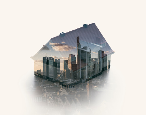 Multiple Exposure「Double exposure of a house model and an urban skyline」:スマホ壁紙(0)