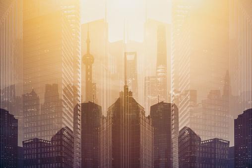 Multiple Exposure「Double exposure of futuristic building in Shanghai」:スマホ壁紙(6)