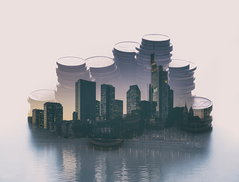 Multiple Exposure「Double exposure of stacked coins and an urban skyline」:スマホ壁紙(1)