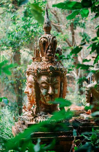 Chiang Mai Province「Thailand, Chiang Mai, Buddhist statue in the middle of the jungle in Wat Pha Lat Buddhist temple」:スマホ壁紙(11)