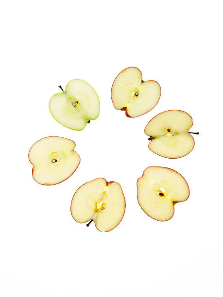 Apple slices on white background:スマホ壁紙(壁紙.com)