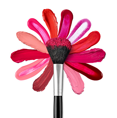 Pink Color「Lipstick and nail polish strokes forming with powder brush a flower shape」:スマホ壁紙(6)