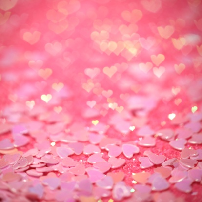 Girly「Pink confetti hearts with hearts bokeh effect」:スマホ壁紙(16)