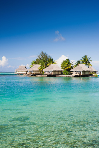 French Polynesia「Holiday Hotel Cottages in Paradise Lagoon」:スマホ壁紙(18)
