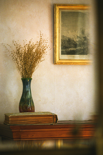 Dried Plant「Vase with dried flowers on bookcase and painting」:スマホ壁紙(1)