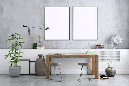 Home Office「Blank poster frame home office interior background template」:スマホ壁紙(17)