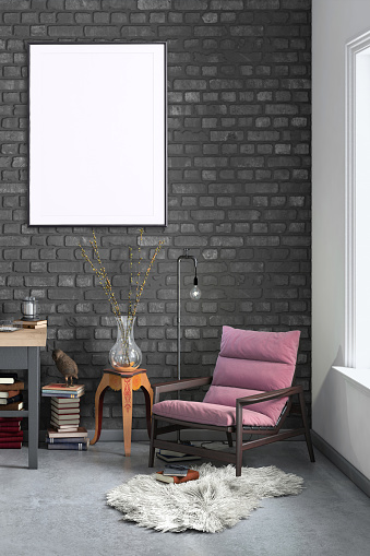 Template「Blank poster frame home office interior background template」:スマホ壁紙(2)