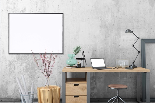 Art「Blank poster frame home office interior background template」:スマホ壁紙(14)