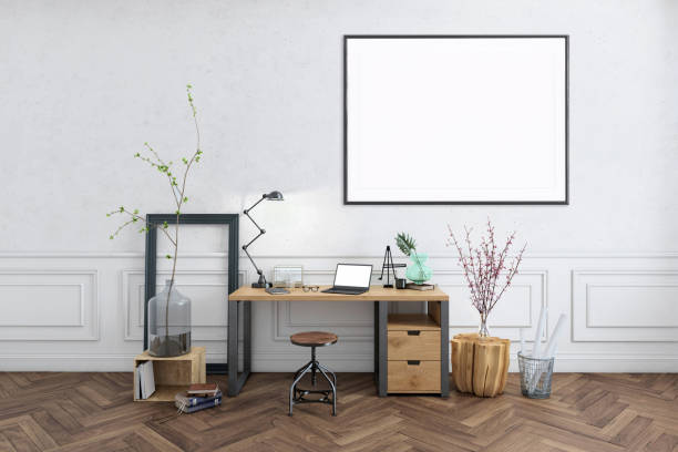 Blank poster frame home office interior background template:スマホ壁紙(壁紙.com)
