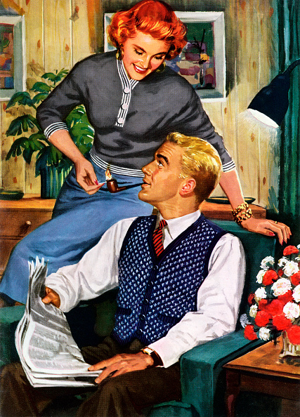 Stay-at-Home Mother「Wife Lighting Husband's Pipe」:写真・画像(4)[壁紙.com]