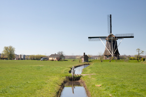 Amsterdam「Dutch windmill in Nigtevecht」:スマホ壁紙(1)