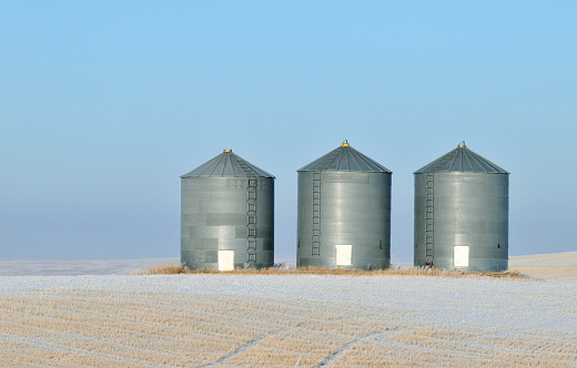 Agricultural Building「Grain storage in a winter landscape in Alberta,Canada」:スマホ壁紙(5)