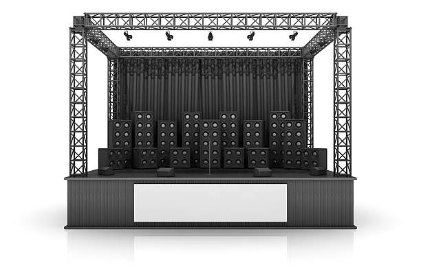 Digital image of a rock stage with speakers on a white back:スマホ壁紙(壁紙.com)