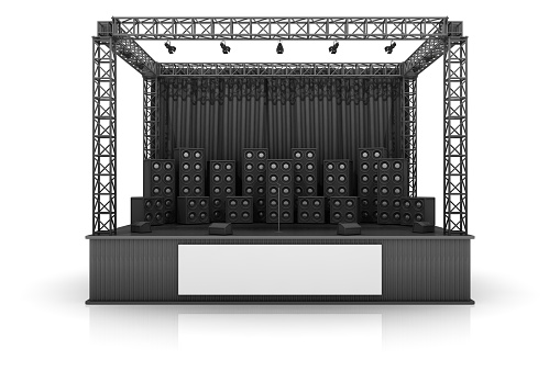 Electrical Equipment「Digital image of a rock stage with speakers on a white back」:スマホ壁紙(17)
