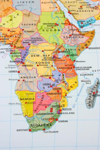 Democratic Republic of the Congo「Multi colored Africa map」:スマホ壁紙(14)