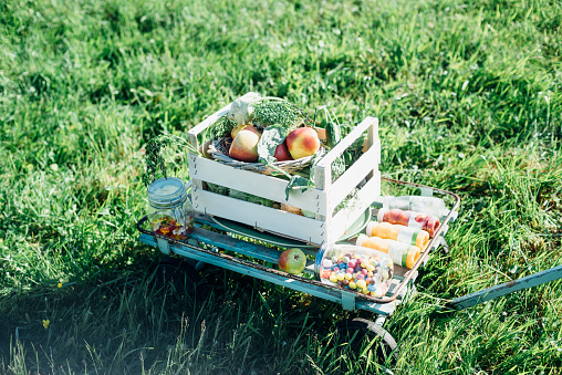 Picnic「Crate with apples andsweets on cart in meadow」:スマホ壁紙(18)
