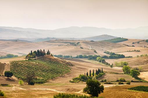 Siena Province「Landscape in Tuscany at sunrise」:スマホ壁紙(19)