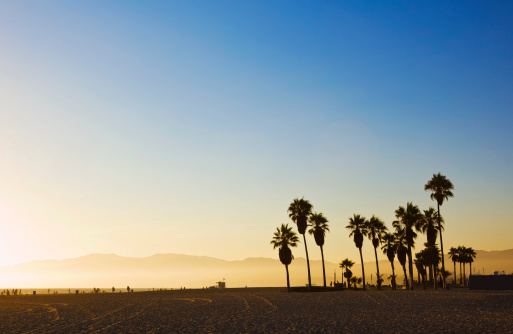Southern California「Landscape image of Venice Beach, California at sunset 」:スマホ壁紙(15)