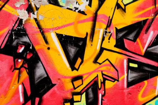 飽和色「落書きの壁の背景」:スマホ壁紙(16)