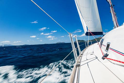 波「カリブ海の帆の下のヨットの側デッキを表示します。」:スマホ壁紙(16)