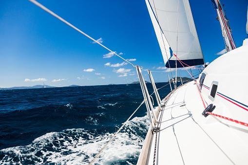 波「カリブ海の帆の下のヨットの側デッキを表示します。」:スマホ壁紙(18)