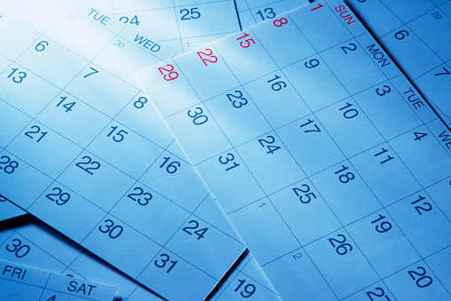 Month「Blue tinted image of calendars with light rays」:スマホ壁紙(4)