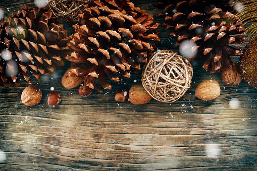 Pine Cone「Pine cones and nuts on a wooden table」:スマホ壁紙(17)