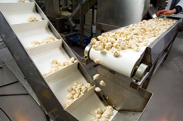 Production line in a food factory. Ravioli preparation.:スマホ壁紙(壁紙.com)