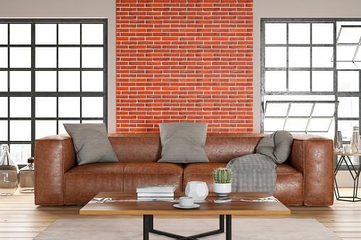 Brick Wall「Leather Sofa with Empty Brick Wall」:スマホ壁紙(4)