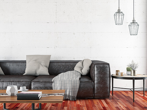 Domestic Life「Leather Sofa with Empty Brick Wall」:スマホ壁紙(5)