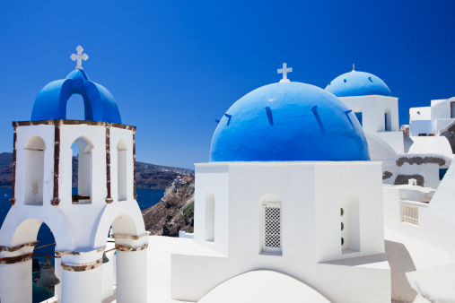 Aegean Sea「Santorini famous churches」:スマホ壁紙(2)