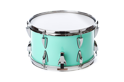 Snare Drum「Green, Chrome Snare Drum, Percussion Musical Instrument, Isolated on White」:スマホ壁紙(6)